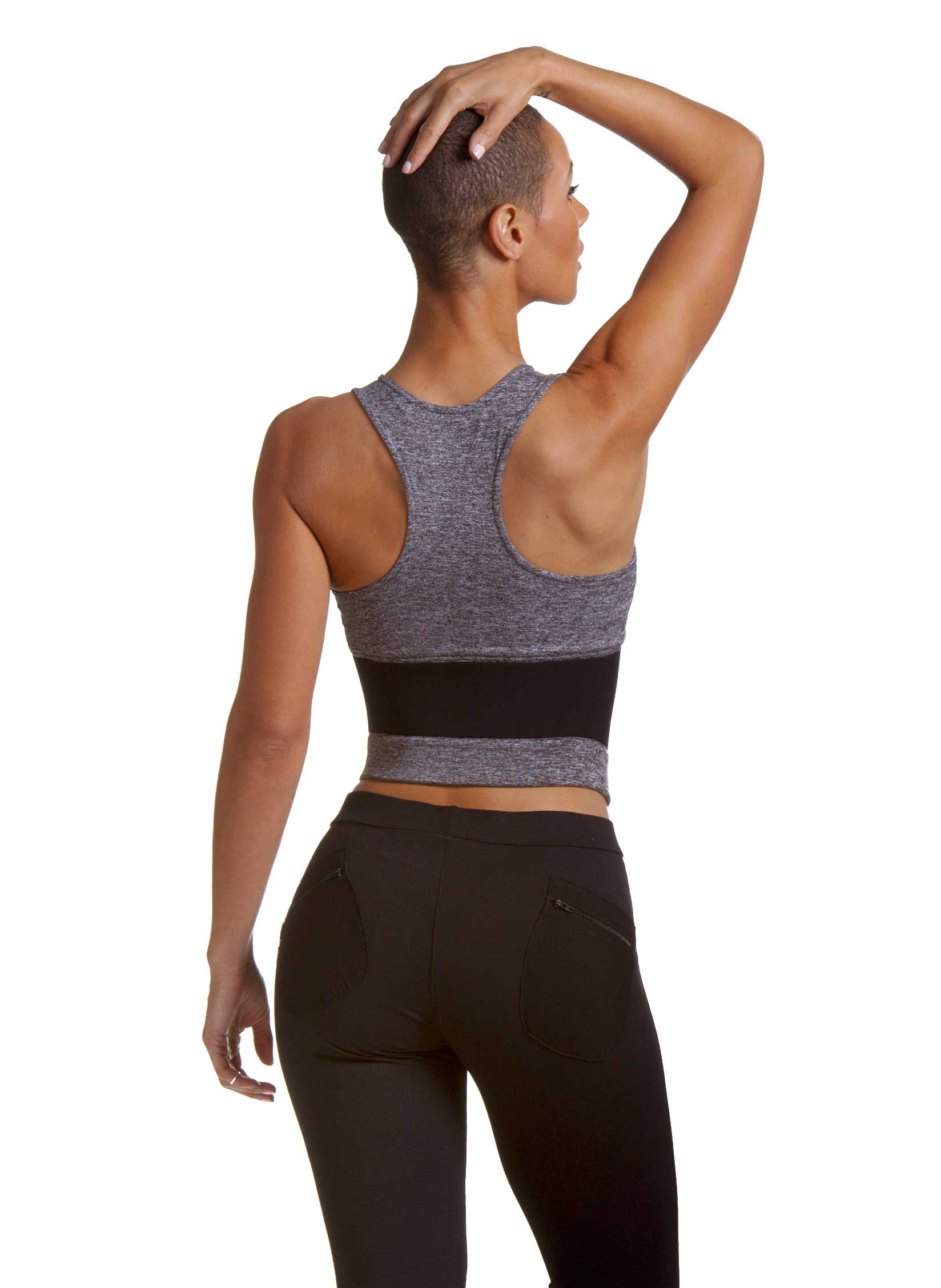 Lean Body Sports Bra In Grey Rear